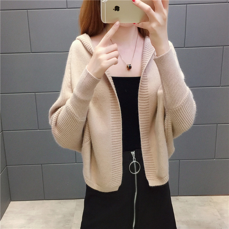 2019 Free send New style Korean loose and comfortable Autumn women Cardigan Sleeve of bat Hooded Sweater coat 123