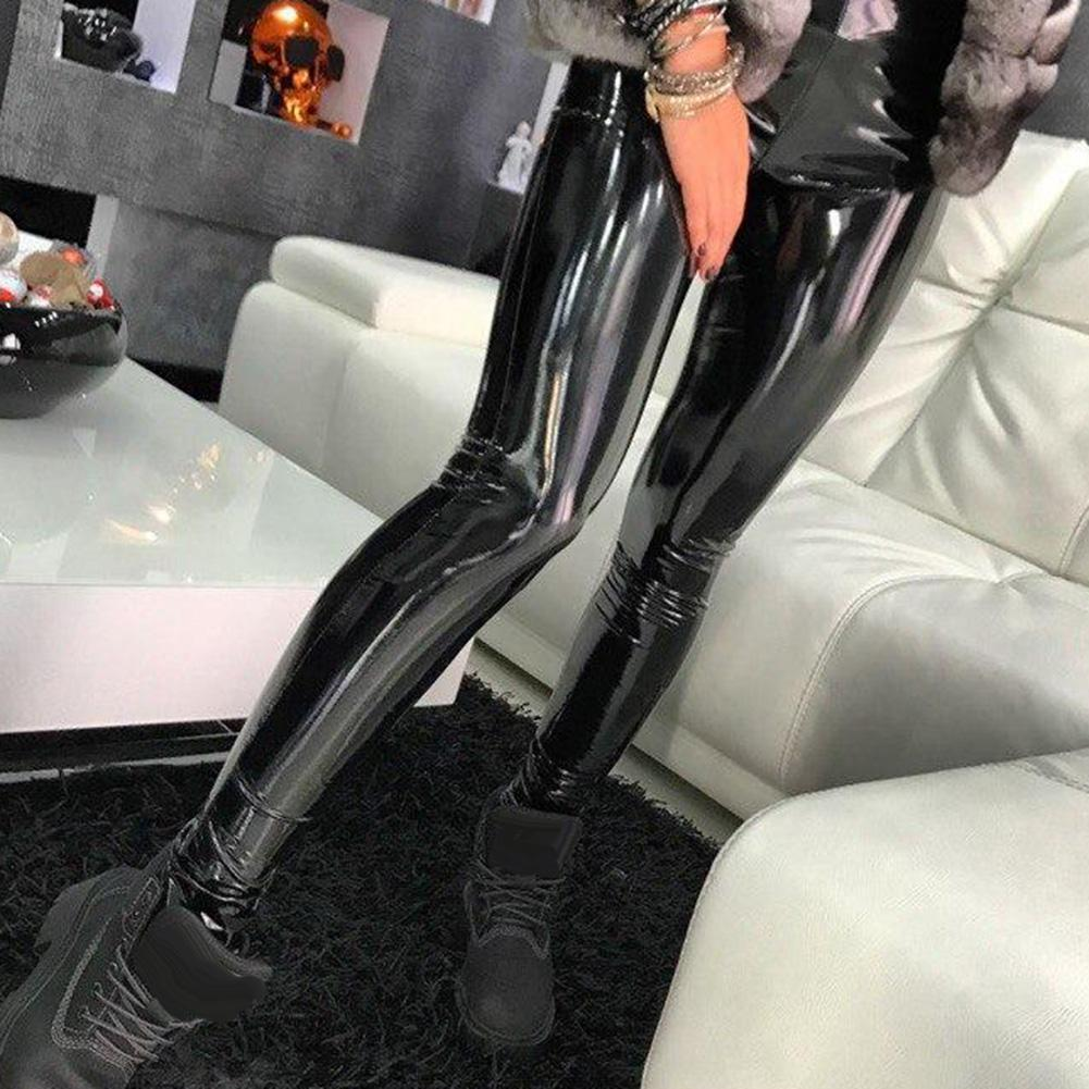 Black Summer PU Leather Pants Women High Waist Skinny Push Up Leggings Sexy Elastic Trousers Stretch Plus Size Jeggings лосины