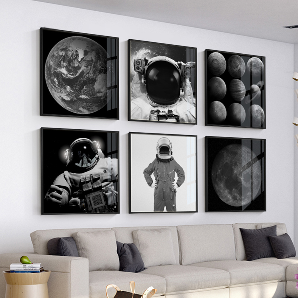 Nordic, modern abstract painting, universe, spaceman, planet, living room, bedroom wall decoration canvas painting
