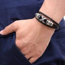 Bracelets en cuir tressé pour hommes, alliage rétro, lettre X, bijoux d'amitié