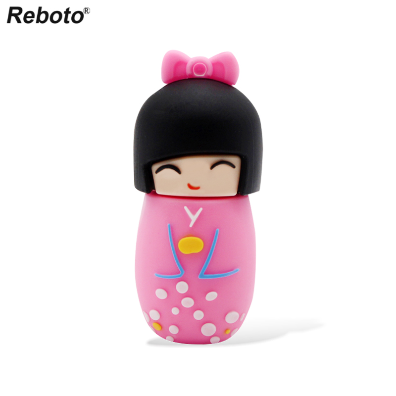 Cartoon Memory Stick Cute Japanese Dolls Kimono Girl 64GB 32GB 16GB 8GB Flash Drive U Disk Mini Pendrive Creative Gift