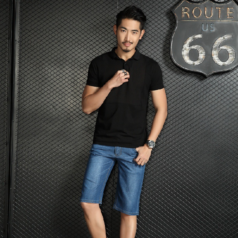206-MEN'S Denim Shorts Summer Thin Section Shorts Straight-Cut Casual Large Size Shorts