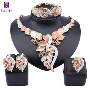 Ring Necklace Jewelry-Sets Wedding-Accessories Crystal Dubai Gold Bridal Nigerian Italian