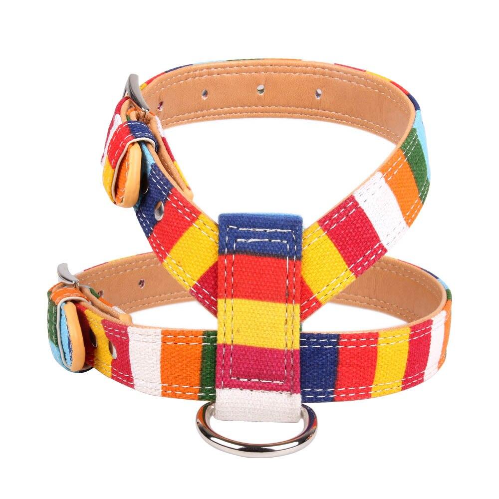 Pet Supplies Canvas + Pu Combination Multi-color Color Stripes Dog Chest Strap Sale Dog Chest Belt