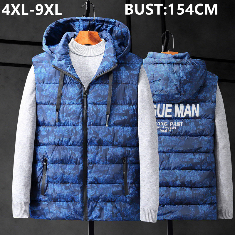 Winter Sleeveless Jacket Thicken Hat Warm Vest Camouflage Big Size 6XL 7XL 8XL 9XL Hoodie Clothes Gilet Uomo Camo Mens Waistcoat