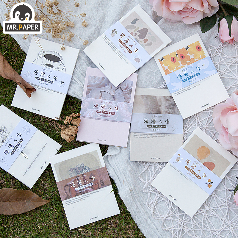 Mr.Paper 15pcs 8 Designs Slow Life Minimalist Memo Pads Deco Loose Leaf Notepad Diary Writing Points MotorCycle Creative Note