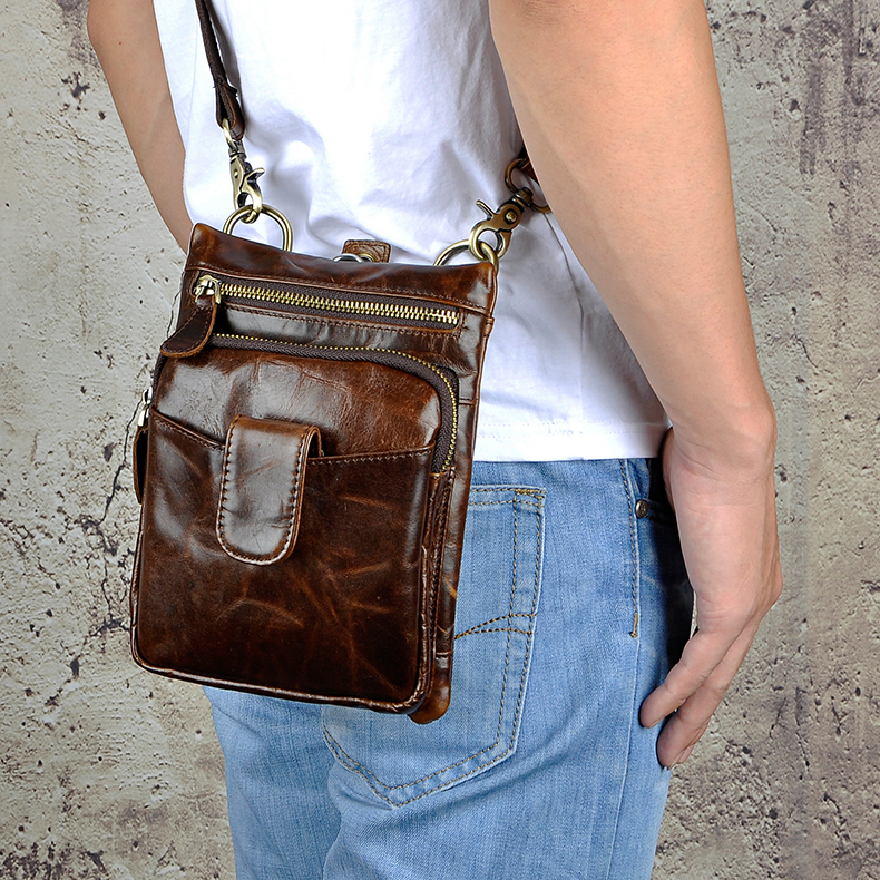 Original Leather Men Casual Fashion Mochila Crossbody Messenger Bag Designer Male Waist Belt Pack Cigarette Tablet Pouch 6549-co