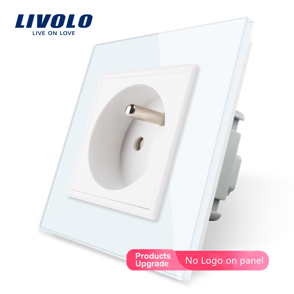 Livolo New Outlet,French Standard Wall Power Socket, VL-C7C1FR-11,White Crystal Glass Panel, AC 100~250V 16A,no Logo