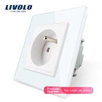 Livolo 新アウトレット、フランス規格壁電源ソケット、 VL C7C1FR 11 、ホワイトクリスタルガラスパネル、 ac 100 〜 250 v 16A 、なしロゴ|livolo socket|wall socket glasssocket power -