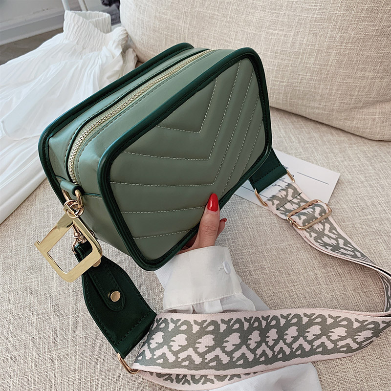 PU Leather Small Zipper Crossbody Bags For Women Wide Shoulder Strap Shoulder Messenger Bag Female Travel Purses And Handbags
