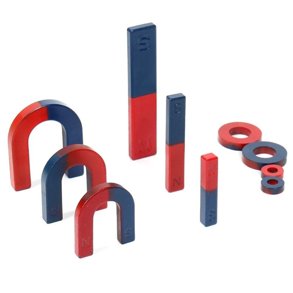 9 pièces Kid U/Bar/anneau physique Science expérience aimant aide à l'enseignement éducation Bucky bâtons magnétiques en acier boules ensemble Puzzle jouets