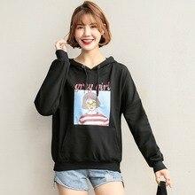 New Arrival 2019 Autumn Women Cartoon Girl Printed Letter Hoodies Sweatshirt Korean Casual Long Sleeve Pullover Tops