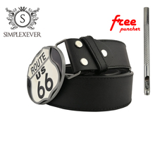 US Route 66 Metal Belt Buckle for Men Oval New Silver Mens Head with Dropshipping