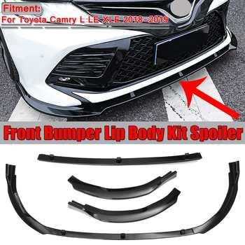 3pcs Car Front Bumper Lip Cover Trim Body Kit Spoiler Diffuser Bumper Splitter Guard For Toyota For Camry L LE XLE 2018 2019