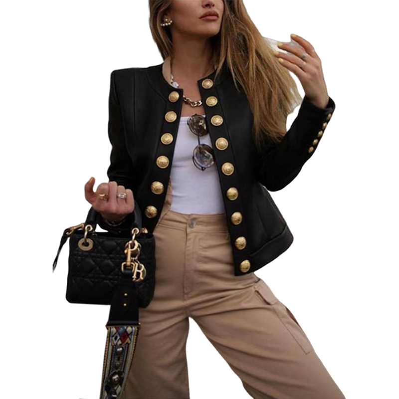 Women Buttons Blazers Leather Long Sleeve Biker Casual Short Coat Top Ladies Autumn Winter Streetwear Fashion Female Outwear New