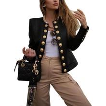Women Buttons Blazers Leather Long Sleeve Biker Casual Short Coat Top Ladies Aut
