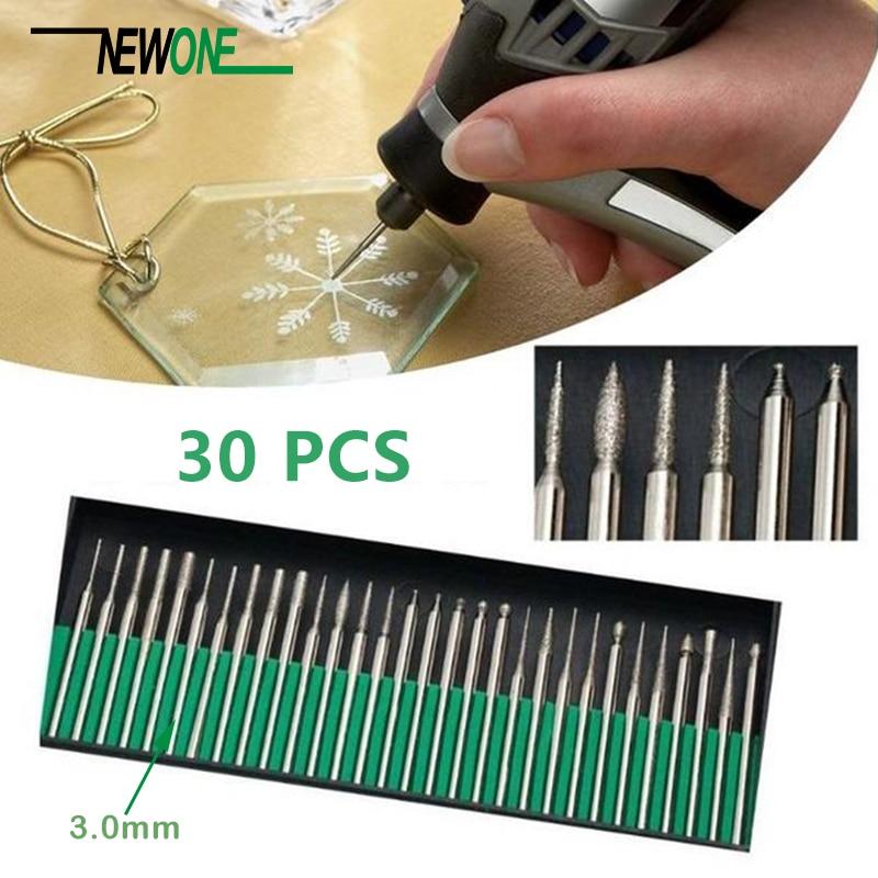20PCS 2.35mm/30PCS3.0mm Diamond Burr Bits Drill For Engraving Carving Rotary Tool