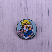 Howl's Moving Castle Enamel Pin Howl And Sophie Cartoon Brooch Round Badge(China)