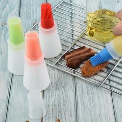 1 pçs portátil silicone garrafa de óleo com escova grill escovas de óleo líquido pastelaria cozinha ferramenta para churrasco ferramentas de cozinha para churrasco