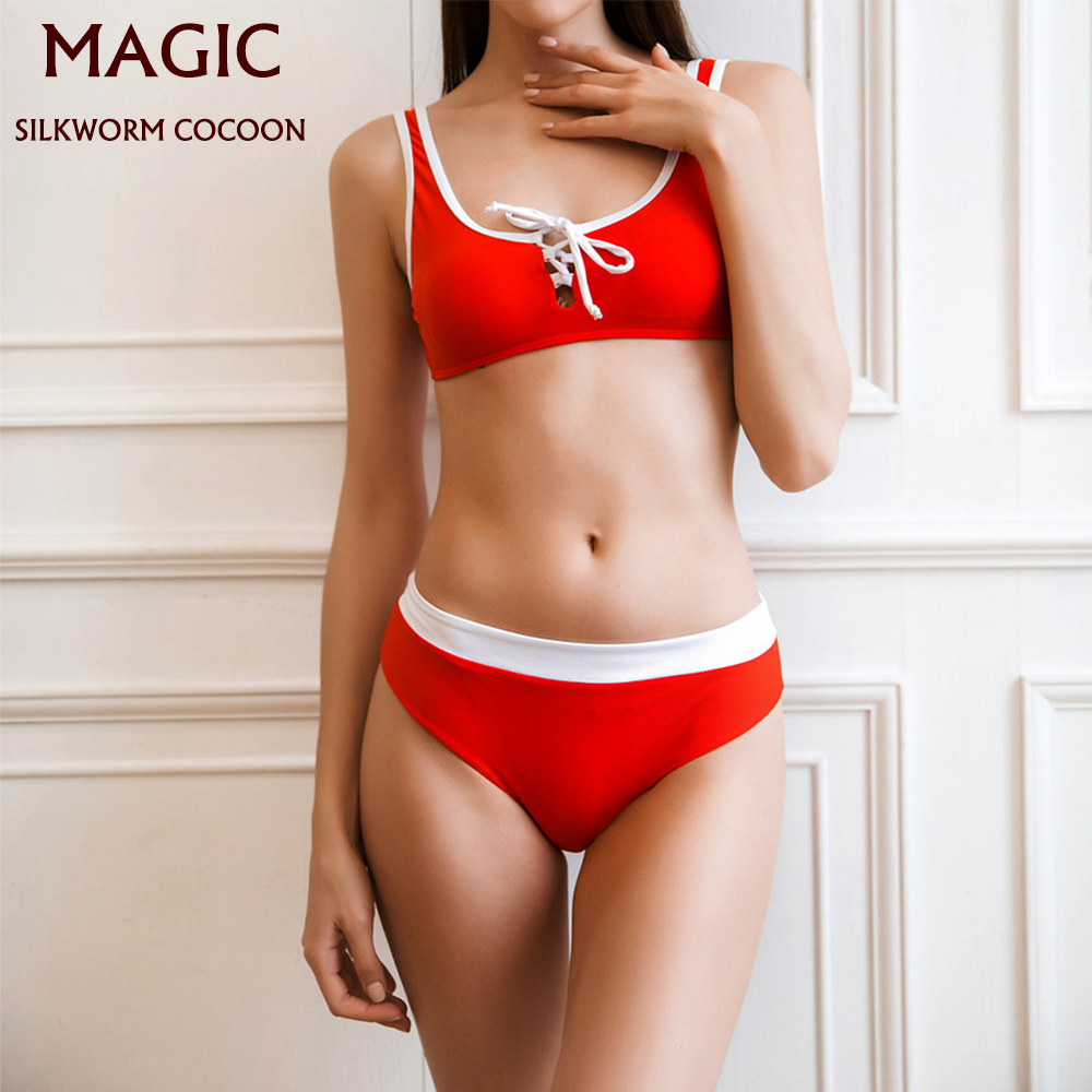 Swimwear Red White Stitching Sports Swimsuit Sexy Solid Color Women Bandage Bikini Set Push-Up Brazilian Beachwear Swimming Suit