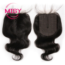4x1 Lace Closure 100% Human Hair Brazilian Body Wave Hand-tied T-Part Middle Part Closure With Baby Hair 6-8 Inches