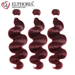 Image 3 - 99J Burgundy Body Wave Bundles With Closure Blonde 27 Brazilian Remy Human Hair 3 Bundles With 4x4 Lace Closure Frontal EUPHORIA