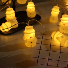 Christmas String Lights Snowman 10 LED Battery Operated Decoration Indoor Outdoor Home Garden