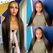 ALICE Natural Color Straight Wigs Lace Front Human Hair Wigs 150% Density Non-Remy Pre-Plucked With Baby Hair