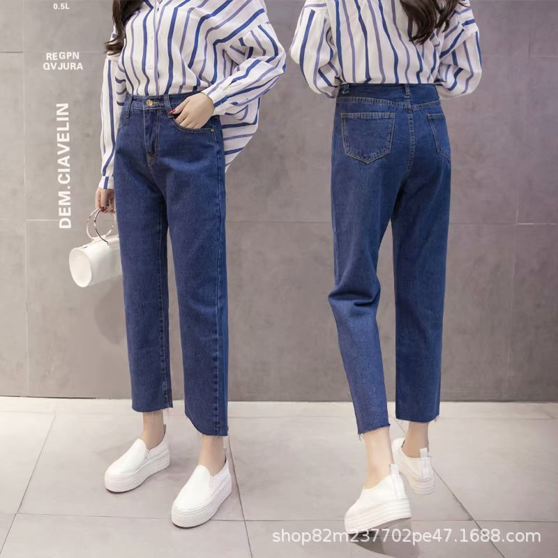 2018 Summer Wide-Leg Jeans Women's Capri High-waisted Loose-Fit Students Youth Versatile Cowboy Loose Pants WOMEN'S Pants Fashio