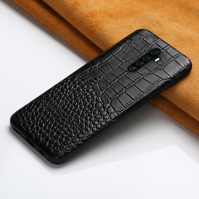 Original Leather Crocodile Grain Phone Case For Realme X2 Pro X2 X XT 5 Pro Cover For OPPO A5 A9 2020 Reno 2 3 Z Reno Ace R17 K5