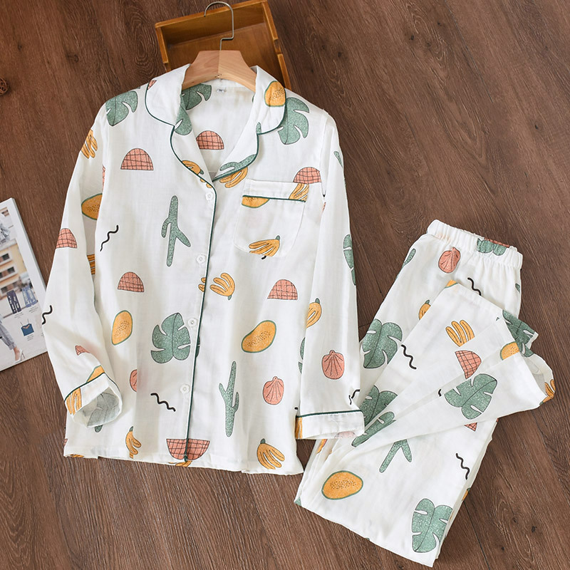 Women's Sleepwear Cotton Gauze Soft Pajama Sets Button Down Long Sleeve Sleepwear Floral Pajama Set Autumn Female Pyjamas