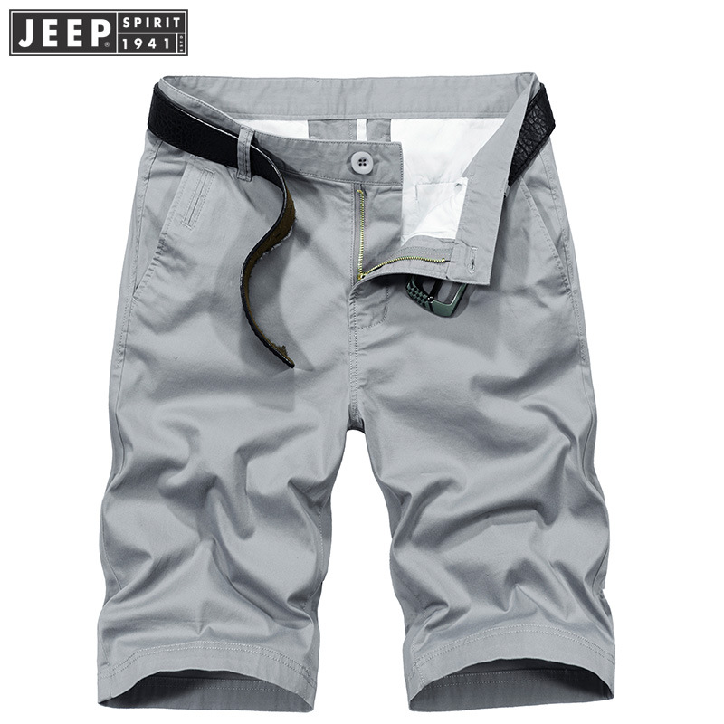 JEEP SPIRIT Summer Cargo Short Men Casual Cotton Solid Color Men Short Mid-waist Knee Length Short Hombre Plus 30-42 No Belt