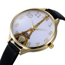 Eiffel-Tower Dial Faux Leather Band Analog Quartz Wrist Watch Ladies Party Gift