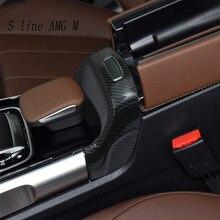 لمرسيدس بنز B GLB الفئة W247 X247 ألياف الكربون سيارة الداخلية مسند الذراع صندوق التبديل أزرار غطاء إطاري ملصقا وتقليم الشارات