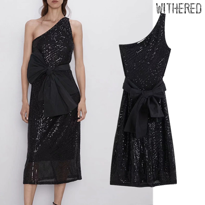 Withered England Sexy Party Dress Women Sequins Single Shoulder Strapless Vestidos De Fiesta De Noche Vestidos Maxi Dress Blazer