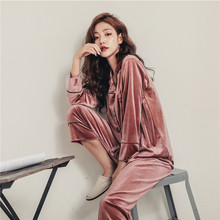 Autumn and winter long-sleeved trousers two-piec gold velvet pajamas ladies home service to keep warm new thickening