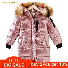 30 ילדי חורף מעיל בגדי ילדה חם עמיד למים מעיל סלעית ארוך למטה מעילי כותנה לילדים הלבשה עליונה דובון בגדים
