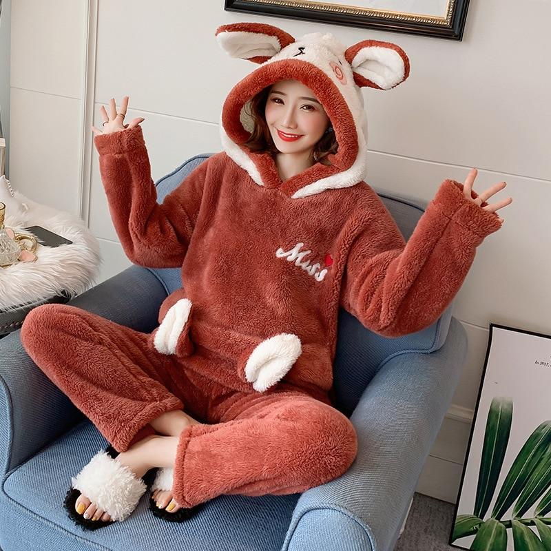 Winter Women Cute Pajama Sets Flannel Cartoon Warm Pyjamas Women Girls Home Clothes Set Animal Sleepwear Pijama Mujer Nightwear