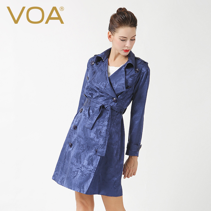 Classic Trench For Women Spring Long Navy Blue Double Breasted Jacquard Coat Slim Turn Down Epaulets Silk Windbreaker F6309
