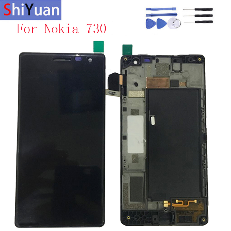 4.7 inch LCD Screen For <font><b>Nokia</b></font> Lumia 730 735 RM-1038 RM-<font><b>1040</b></font> LCD Display Touch Screen Digitizer Assembly Frame Replacement Parts image