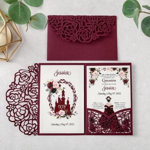 Image 5 - 100pcs 부르고뉴 새로운 로즈 결혼식 안내장 레이저는 결혼식/Quinceanera/생일을위한 꽃 주머니와 봉투를 가진 중공을 자른다