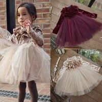 Детское платье для маленьких девочек; праздничное платье принцессы из бархата и флиса; платья трапециевидной формы с оборками и круглым выр...