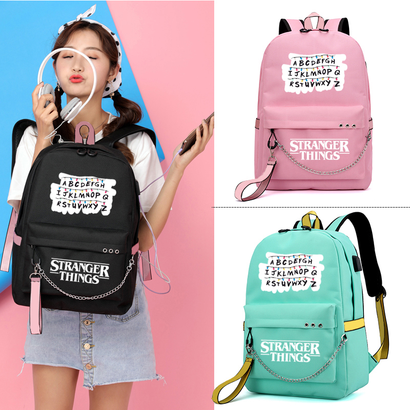 IMIDO Cute Letters Backpacks For Girls Casual School Students Stranger Things Shoulder Bag Women Large Capacity Travel Bags in Backpacks from Luggage Bags