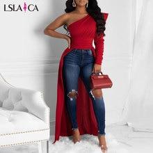 Fashion Women Blouses One Shoulder Puff Sleeve Irregular Elegant Solid Color Female Tops Short Front Long Back Autumn