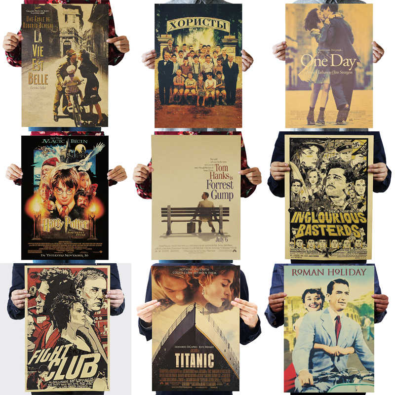 DLKKLB Movie Retro Poster Collection Adornment Vintage Decorative Painting Posters Living Room Core Kraft Paper Wall Stickers