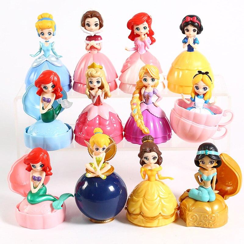 Image 3 - Princesa Brinquedo Bola Flor Fada Sereia Sino Cinderela Princesa Boneca PVC Action Figure toy Collectible Modelo Toy 12 pçs/setFiguras de ação   -