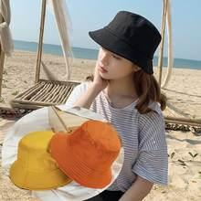 Корейская летняя складная шляпа ведро для взрослых и детей одноцветная