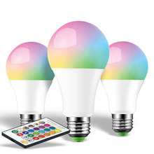LED Bulb RGB Lights 5W 10W 15W E27 110V 220V Changeable Smart Colorful RGBW led Lamp With IR Remote Control  Memory Mode