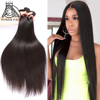 Poker Face 28 30 32 40 Inch Bundles Straight Bundles Deals 1 3 4 Bundles 100% Long Human Hair Extensions Brazilian Hair Weaves image