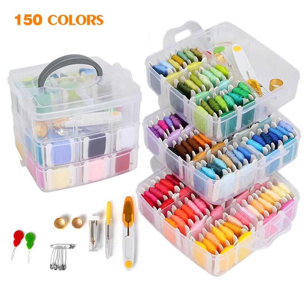 150 Colors Portable Sewing Box Kitting Needles Kits Tools Quilting Thread Stitching Embroidery Craft Sewing Home Handicraft
